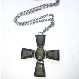 Olive Green Crystal Cross Statement Necklace